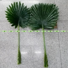 20pcs Large Latex 80cm Artificial Fan Coconut Palm Plant Tree Branch Frond Wedding Home Patio Sago Decor Outdoor Green