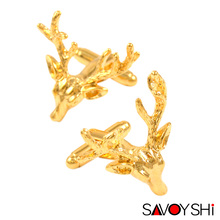 Luxury Gold-color Deer Cufflinks for Mens Shirt Cuff bottons High Quality Novelty Animal Cufflinks Brand SAVOYSHI Jewelry Design