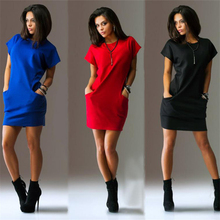 Awedrui Summer New Women Fashion Short sleeve Loose Shirt Dress Side Pocket Red Black Mini dress Casual beach dresses vestido