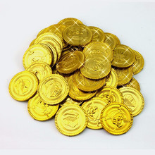100Pcs Plastic Gold Treasure Coins Pirate Treasure Gold Coins Props Toys for Halloween Christmas Decoration Game Currency5ZHH203(China)