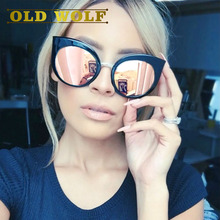 Classic Vintage Cat Eye Rose Gold Mirror Women Stylish Sunglasses Fashion Brand Designer Retro Sun Glasses Lady sunglasses 2017(China)