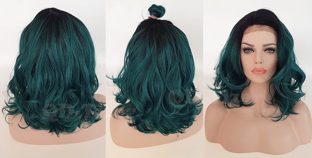 QD-Tizer Short Ombre Wavy Green Color Lace Front Wigs Side Part LOB Hair Synthetic Lace Front Wig for Fashion Girl6