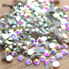 SS8 Crystal AB Non Hotfix Round Flatback Nail Art Rhinestones For DIY Cell Phone And Shoes 1440pcs(China)