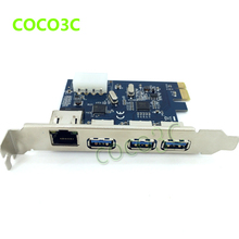 PCI-e to External 3 ports USB 3.0+ RJ45 Gigabit Ethernet Network card USB3.0 + 1000M LAN Combo PCI express card