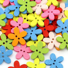100pcs 14x15mm Multicolor  2 Holes Mixed Flower Wooden decorative Beads Fit  Jewelry Handmade MT1047X