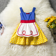 2017 Baby girl summer dress Brand Sweet style Kids Bow tie point Children Vest harness dress Children's clothing A00342(China)