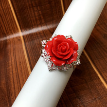 50pcs/lot Red Rose Napkin Ring Silver Hoops Romantic Nice Looking Weeding Party Table Decoration