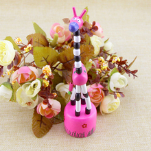 6pcs/lot New Arrival Baby Funny Wooden Toys Developmental Dancing Standing Rocking Giraffe Animal Toys Multi Color