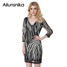 Ailunsnika Summer Women Party Sequin Short Dresses Vestidos Vintage Bodycon Paillette Dress Femme Casual Dresses Club Wear JL671
