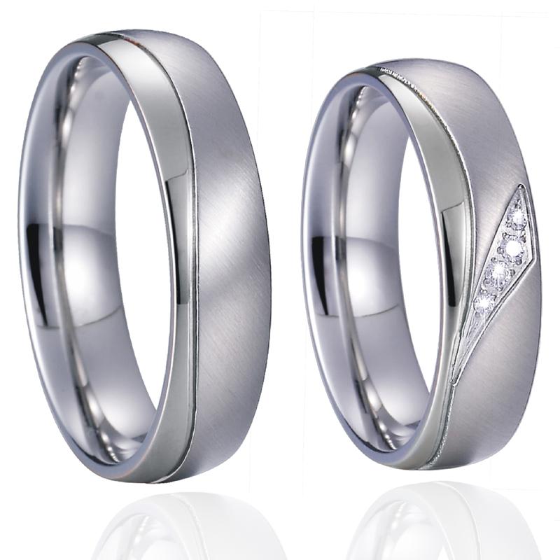 Unique sparkly CZ Zircon Promise Wedding Band Set men's Couple Rings Pair titanium jewelry women's ring Anillos Alliance Anel  (1)