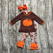 2016 Fall/Winter baby girls pumpkin print outfits kids cotton Halloween ruffles pant sets clothes kids ruffle with hairbow