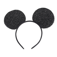 30pcs/lot Black Sparkle Mickey Mouse Ears Headband Masquerade Party Cosplay Costumes Accessories for Adult Kids