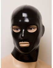 Buy Unisex Black latex Uniform hood Fetish rubber costumes mask open eyes mouth plus size Hot sale Customize service