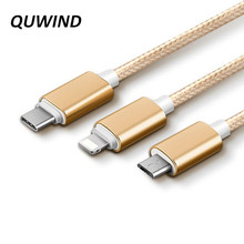Buy QUWIND 3.3FT 1M 3 1 Micro USB 8pin Type C USB Charging Cable iPhone 5 6 7 HuaWei Samsung Android Phone Pad for $2.91 in AliExpress store