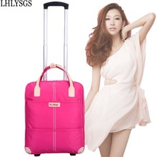 LHLYSGS Brand Women's Large Fashion Suitcases Travel Trolley Bag With Wheels Road Travel Bag Hand Duffle Luggage Bag Waterproof(China)