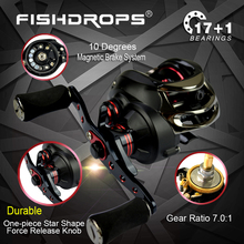 2017 HOT SALE! Fishdrops Baitcasting Reel 18 Ball Bearings Fishing Gear 7.0:1 Bait Casting Fishing Reel Bass cat Reel