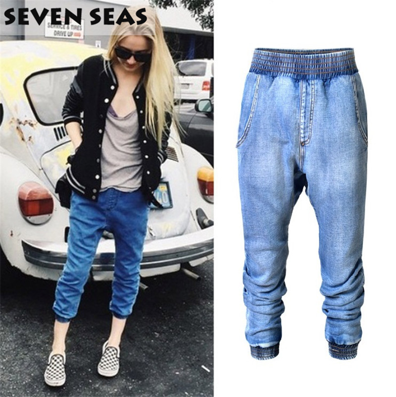 High Street Soft Fabric Middle Rise Elastic Waist Harem Jeans Femme Baggy Loose Boyfriend Jeans for WomenОдежда и ак�е��уары<br><br><br>Aliexpress