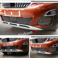 For Peugeot 5008 GT 2017 26pcs/set stainless steel Front grille Racing Grills Trim car styling accessories