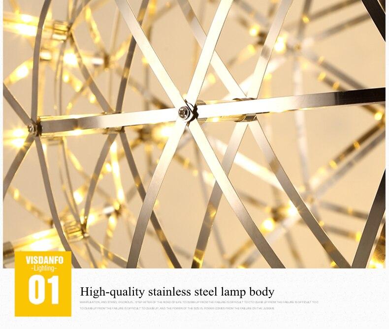 firework stainless steel chandelier led lamp loft 10