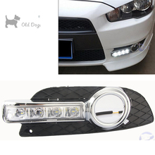 car styling For Mitsubishi Lancer EX 2009-2014 LED DRL Daytime driving Running Lights Daylight Waterproof Fog Head Lamp white(China)
