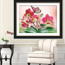 diy diamond painting 5d round crystal rhinestones flowers Orchid Butterfly 3d embroidery wedding home decoration 2017 newest