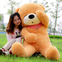 stuffed animal 140 cm teddy bear plush toy sleeping eyes bear doll throw pillow light brown colour gift w2926