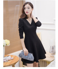 Plus Size Vestidos Spring Elegent Vintage Fashion Women Long Sleeve V neck  A line Dress Mini Empire Slim Dress