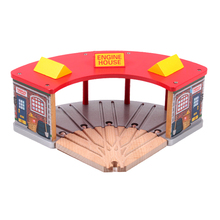 p101 free shipping Red roof garage station wood track essential accessories compatible Thomas train track Children track toys