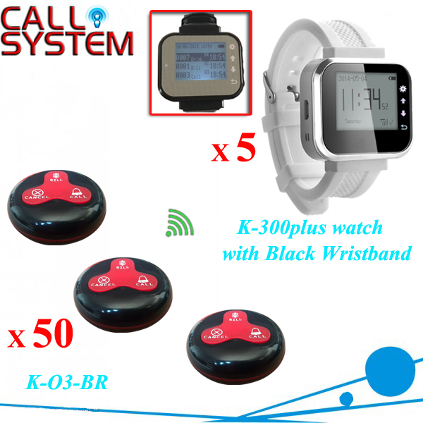5 watches with 50 table button Wireless calling system pager system Waiter caller system free DHL shipping