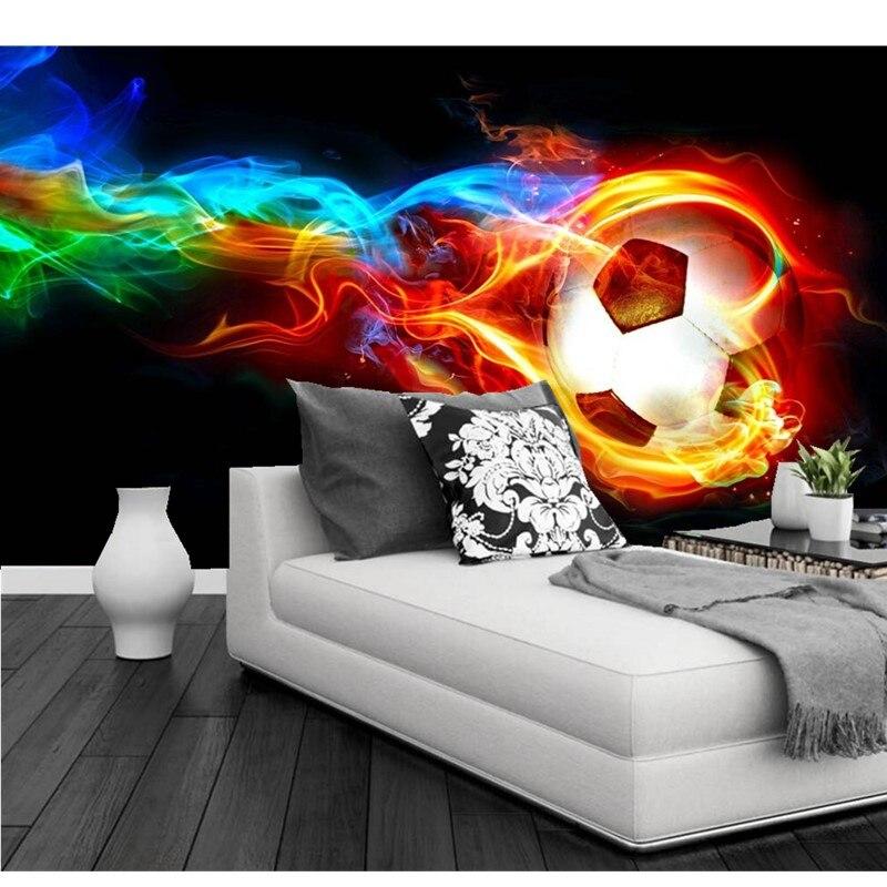 Custom modern 3D wallpaper mural for living room sofa bedroom childrens room background wallpaper Football on fire Wall Mural<br>