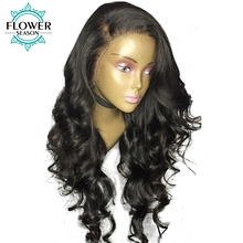 Deeping Parting 13x6 Glueless Lace Front Human Hair Wigs With Baby Hair 130% Density Brazilian Remy Hair Wigs FlowerSeason(China)