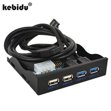 "kebidu 4 Port USB Hub 3.0 2.0 Internal 3.5"" Floppy Bay Front Panel Combo Bracket Adapter USB3.0 20pin Male FDD driver Disk Space(China)"