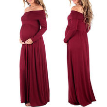 New Women Cowl Neck Off Shoulder Long Sleeve Solid Color Maternity Dress Pregnant Photography Maternity Clothes(China)