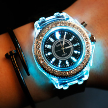 Best Selling 2017 Geneva Luminous LED Sport Watches Women Quartz Watch Ladies Women Silicone Wristwatches Glowing Relojes Mujer
