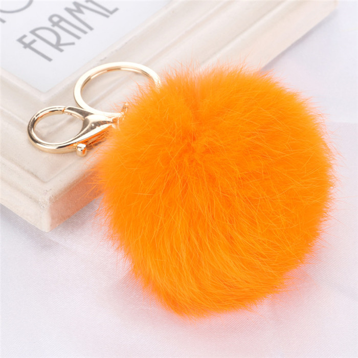 8CM Fluffy Pompom Real Rabbit Fur Ball Key Chain Women Trinket Pompon Hare Fur Toy keyring Bag Charms Ring Keychain Wedding Gift (8)