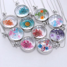 1 Pc Real Dried Dry Flowers Floating Locket Necklace Round  Pendant Glass Accessories