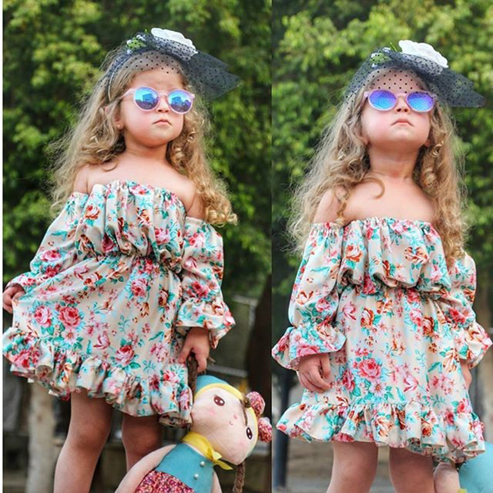 UK Kids Baby Girl Summer Flower Backless Party Pageant Dress Casual Clothes 1-6Y