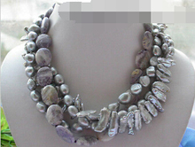 FREE SHIPPING>>> 4row gray baroque biwa pearl purple stone necklace