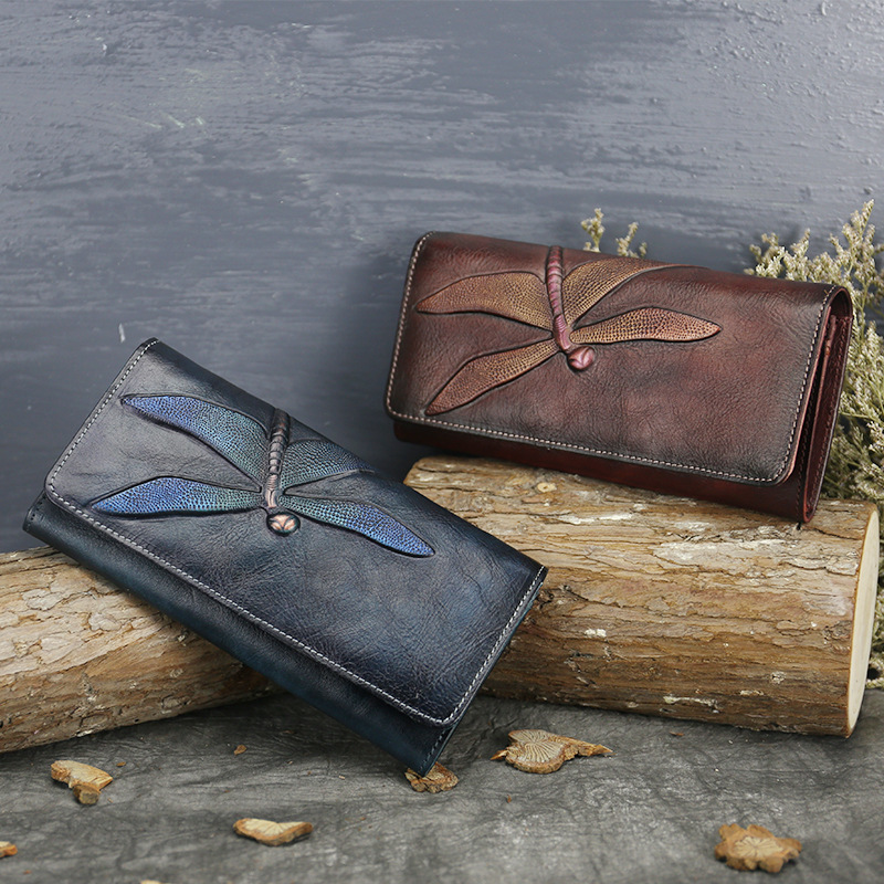 New first layer of leather women wallets Dragonfly cow leather carved wallet Long purse retro pocket genuine leather wallets<br>