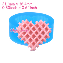 QYL399 21.1mm Waffle Heart Cookie Silicone Mold - waffer / wafer Biscuit Mold Cake Topper, Fondant, Candy, Gum Paste, Resin Clay(China)