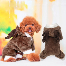lovely winter dog pet warm coat  small dog Christmas clothes jacket Fleece pet elk cosplsy costume Coat Jumpsuit jumpers Hoodie