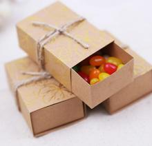 30pcs Retro Mini Kraft Paper Box DIY Wedding Gift Favor Boxes Party Candy Box Small Single Packaging bag 8x3cm(China)