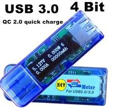 USB 3.0 4 bit OLED detector voltmeter ammeter power capacity tester meter voltage current usb power bank 50%off