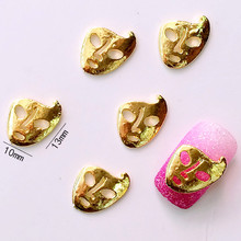10Pcs/Lot 10*13mm Golden Hollow Mask 3D DIY Metal Alloy Nail Art Decorations Nail Stickers Jewelry Accessories(China)