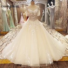 LS90742 lace arabic wedding dress ball gown short sleeves corset back abiti da sposa ivory and champagne real photos(China)