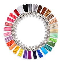70pcs 38mm 35 color Silver Leather Suede Tassels  for DIY Jewelry Making Cellphone Straps Keychain Earrings