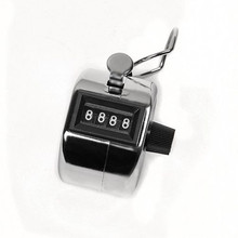 Promotion Stainless Metal Mini Sport Lap Golf Handheld Manual 4 Digit Number Hand Tally Counter Clicker Silver(China)