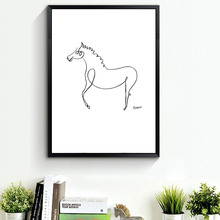 Pablo Picasso The Horse Print Canvas Brief Animals Minimalist Wall Art Kids Room Bar Office ART School BW Home Decor No frame(China)