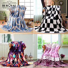 Beroyal Coral Velvet Fleece Blanket Throws Flannel Blankets Covers Thick Warm Quilts for All Season