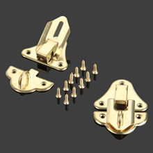 2Pcs Antique Gold Box Latches Decorative Hasp Latch Toggle for Jewelry Wooden Box Suitcase With Screw Furniture Hardware 48*35mm